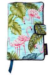 Our Pink Flamingos fabric book cover design will have you seeing pink flamingos peeking over the hedges in everybody's yard.