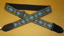 Woven Gretsch strap, blue/gold.