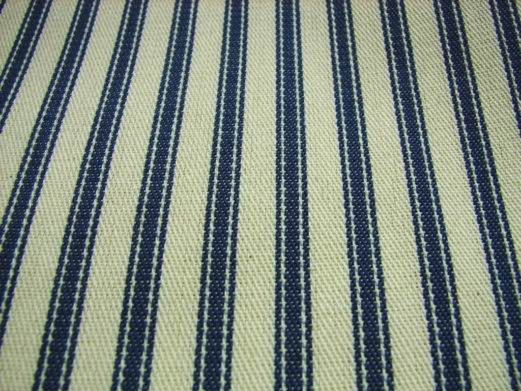 Extra Wide Upholstery Ticking Fabric Blue Cream Stripe Pendle