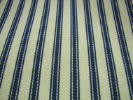 FRENCH COTTON CURTAIN TICKING FABRIC BLUE CREAM  x 0.5 MTR