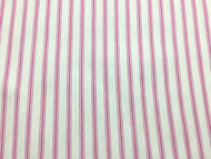 PINK WHITE HERRINGBONE STRIPE COTTON TICKING STRIPE FABRIC P/MTR