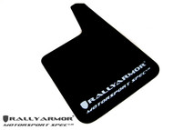 Rally Armor MSpec Mud Flaps Urethane BLACK w/ WHITE LOGO UNIVERSAL