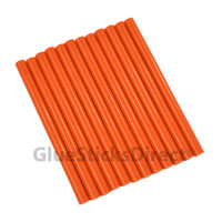"Orange Faux Wax Colored Glue Sticks mini X 4"" 12 sticks"