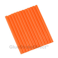 "Translucent Orange Colored Glue Sticks mini X 4"" 12 sticks"