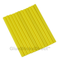 "Neon Yellow Colored Glue Sticks mini X 4"" 12 sticks"