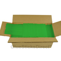 "Translucent Green Colored Glue Sticks mini X 4"" 5 lbs"