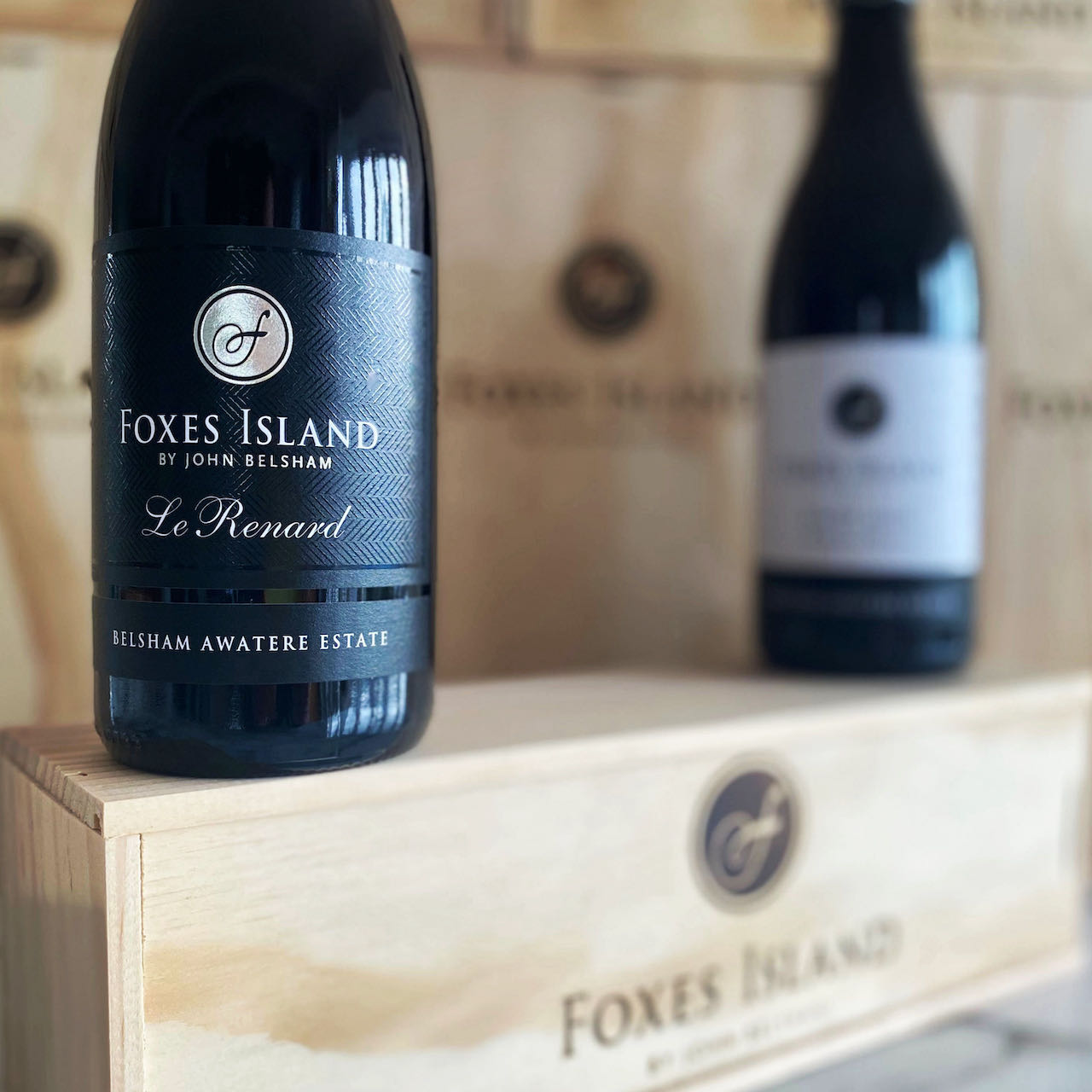 Foxes Island Pinot Noir in a wood box