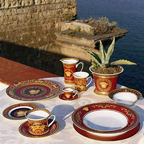 Versace Rosenthal Ikarus Red Table Setting by the sea