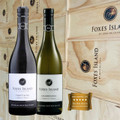Foxes Island Estate Pinot Noir and Chardonnay in a wood gift box.