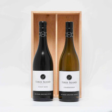 The Classic Duo - Foxes Island Estate Pinot Noir and Chardonnay in a wood box.