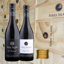 Foxes Island Icon Le Renard and Estate Pinot Noir in a wood wine box