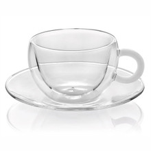 IVV Colours Cappuccino Cup and Saucer, white handle, double walled