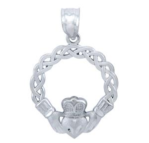 925 Sterling Silver Celtic Claddagh Pendant