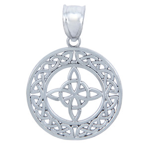 925 Sterling Silver Round Trinity Celtic Pendant