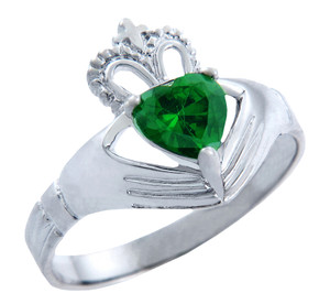 Silver Claddagh Band Ring with Emerald Green CZ Heart