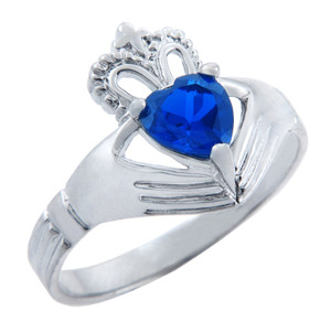 Silver Claddagh Band Ring with Sapphire CZ Heart