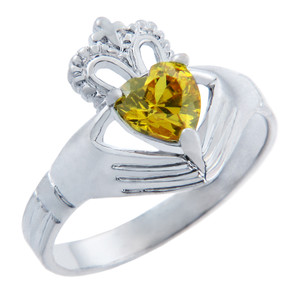 Silver Claddagh Band Ring with Citrine Yellow CZ Heart