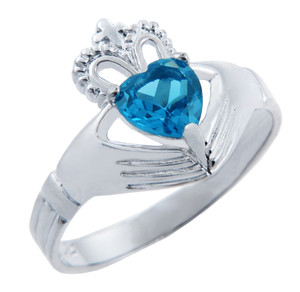 Silver Claddagh Band Ring with Blue CZ Heart