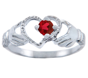 Silver Claddagh Heart Ring with Garnet CZ Stone