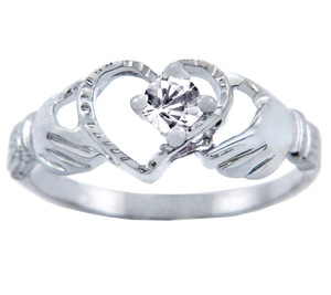 Silver Claddagh Heart Ring with Clear CZ Stone