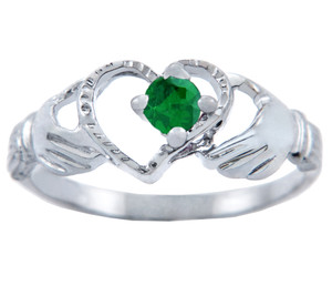 Silver Claddagh Heart Ring with Emerald CZ Stone