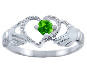 Silver Claddagh Heart Ring with Peridot CZ Stone