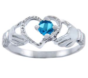 Silver Claddagh Heart Ring with Blue CZ Stone