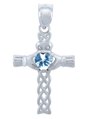 925 Sterling Silver Celtic Cross CZ Heart Pendant w/ Aquamarine