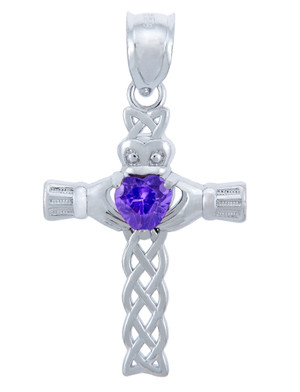 925 Sterling Silver Celtic Cross CZ Heart Pendant with Alexandrite