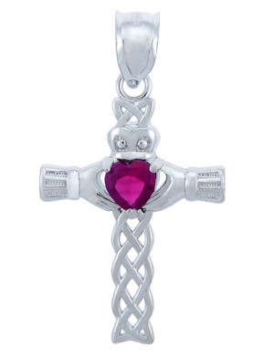 925 Sterling Silver Celtic Cross Red CZ Heart Pendant with Ruby