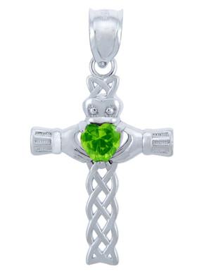 925 Sterling Silver Celtic Cross CZ Heart Pendant with Peridot