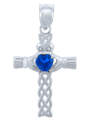 925 Sterling Silver Celtic Cross CZ Heart Pendant with Sapphire