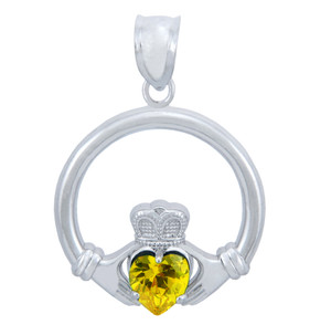925 Sterling Silver Claddagh Pendant with Yellow CZ Heart