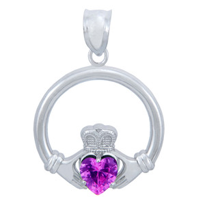 925 Sterling Silver Claddagh Pendant with Pink CZ Heart