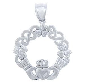 925 Sterling Silver Classic Celtic Claddagh Pendant