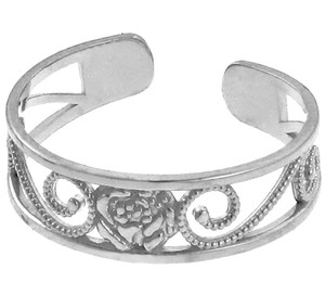 925 Sterling Silver Rose Toe Ring