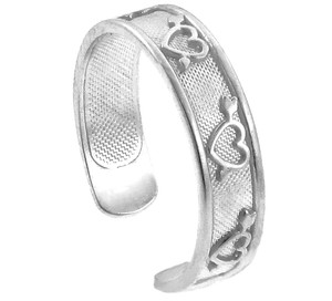 925 Sterling Silver Hearts with Arrows Toe Ring