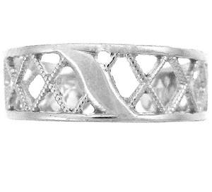 925 Sterling Silver Cross Hatch Toe Ring