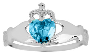 Silver Birthstone Claddagh Ring with Aquamarine