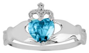 Silver Birthstone Claddagh Blue with Topaz