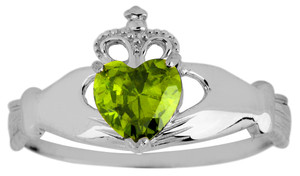 Silver Birthstone Claddagh Ring with Peridot