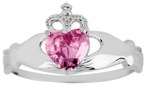 Silver Birthstone Claddagh Ring with Pink Cubic Zirconia