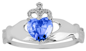 Silver Birthstone Claddagh Ring with Sappire