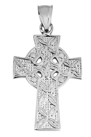 Silver Irish Celtic Claddagh Cross Pendant