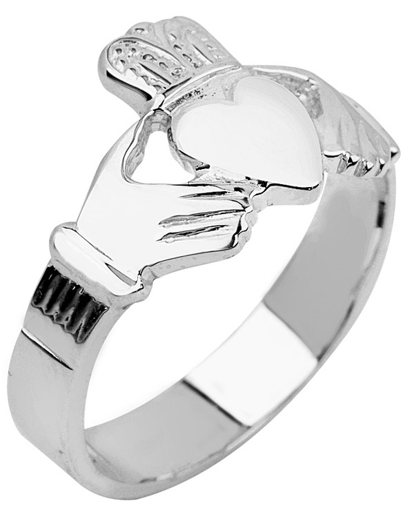 Silver Claddagh Men's Ring Solid