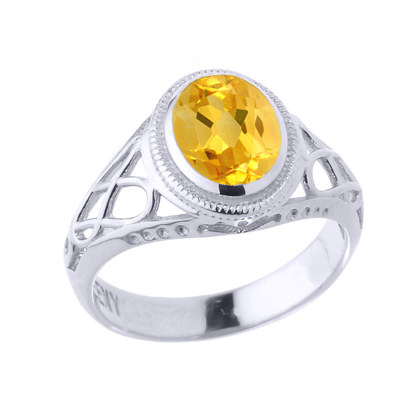 Sterling Silver Celtic Lady's Birthstone Ring