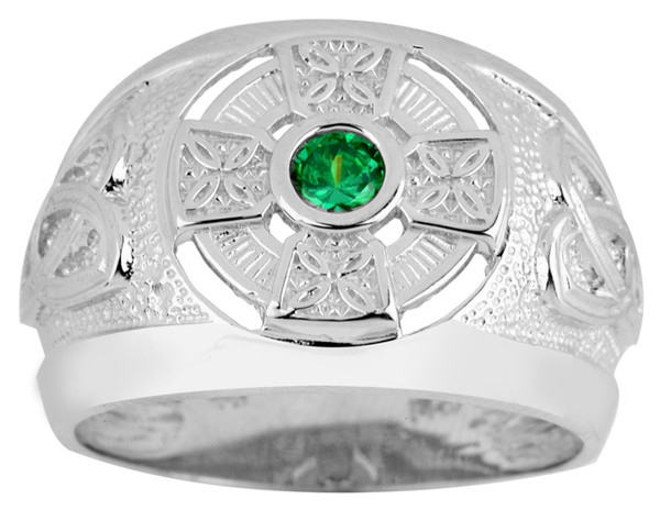 Sterling Silver Celtic Men's CZ Ring with Emerald