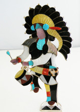 Zuni Jon Beyuka all Sterling Silver Bolo   w/ Sterling Silver Silver Tips and Stand  Large Indian Chief Drummer  Weight 79.5 Grams   Son of Famous Zuni Inlay Artist Eddie Beyuka  Retail Value $1595.00  Dimensions:  5 1/2 Inches Tall  Approx. 3 Inches Wide   Natural Stones and Shell used:  Onyx, Mother of Pearl, Turquoise, Red Coral, Spiny Oyster