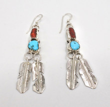 Turquoise Coral Feather Earrings Sterling Silver