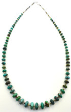 Native American Turquoise Necklace Graduated Heishi Sterling Silver Clasp, Navajo Turquoise Necklace.
